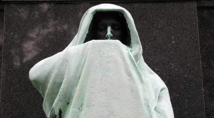 Close up of the Statue of Eternal Silence