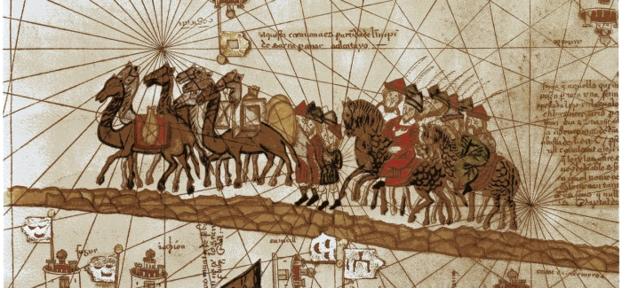 Painting of Marco Polo on horse, following pack of camels