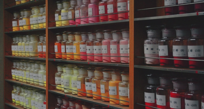 Jars of pigments