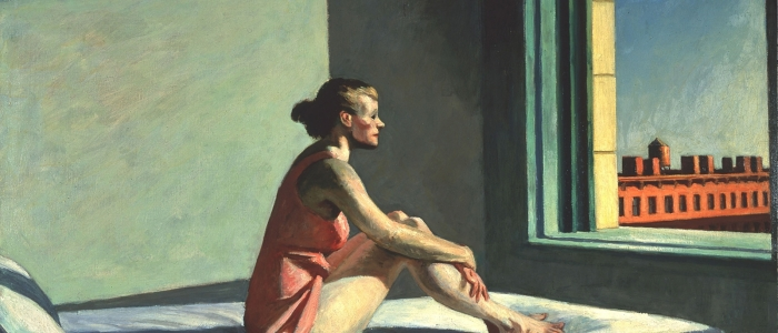 Painting of young women staring out window
