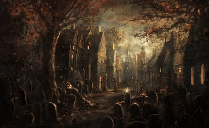 halloween painting with graveyard