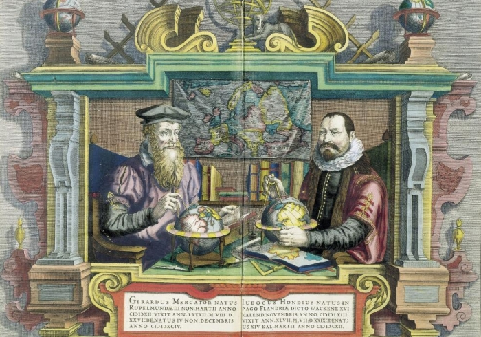 drawing of two men looking at globes and maps