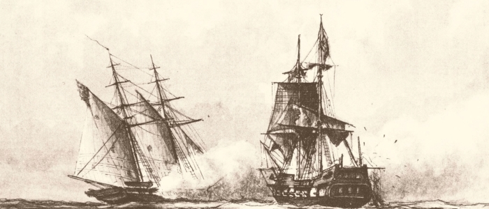 drawing of two pirate ships fighting