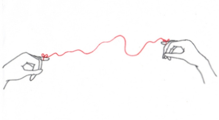 illustration of two hands joined by red string