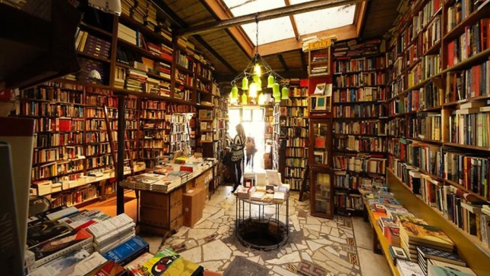 floor to ceiling shelves filled with books and skylight