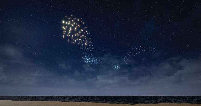 a flock of lit-up drones pepper the night sky