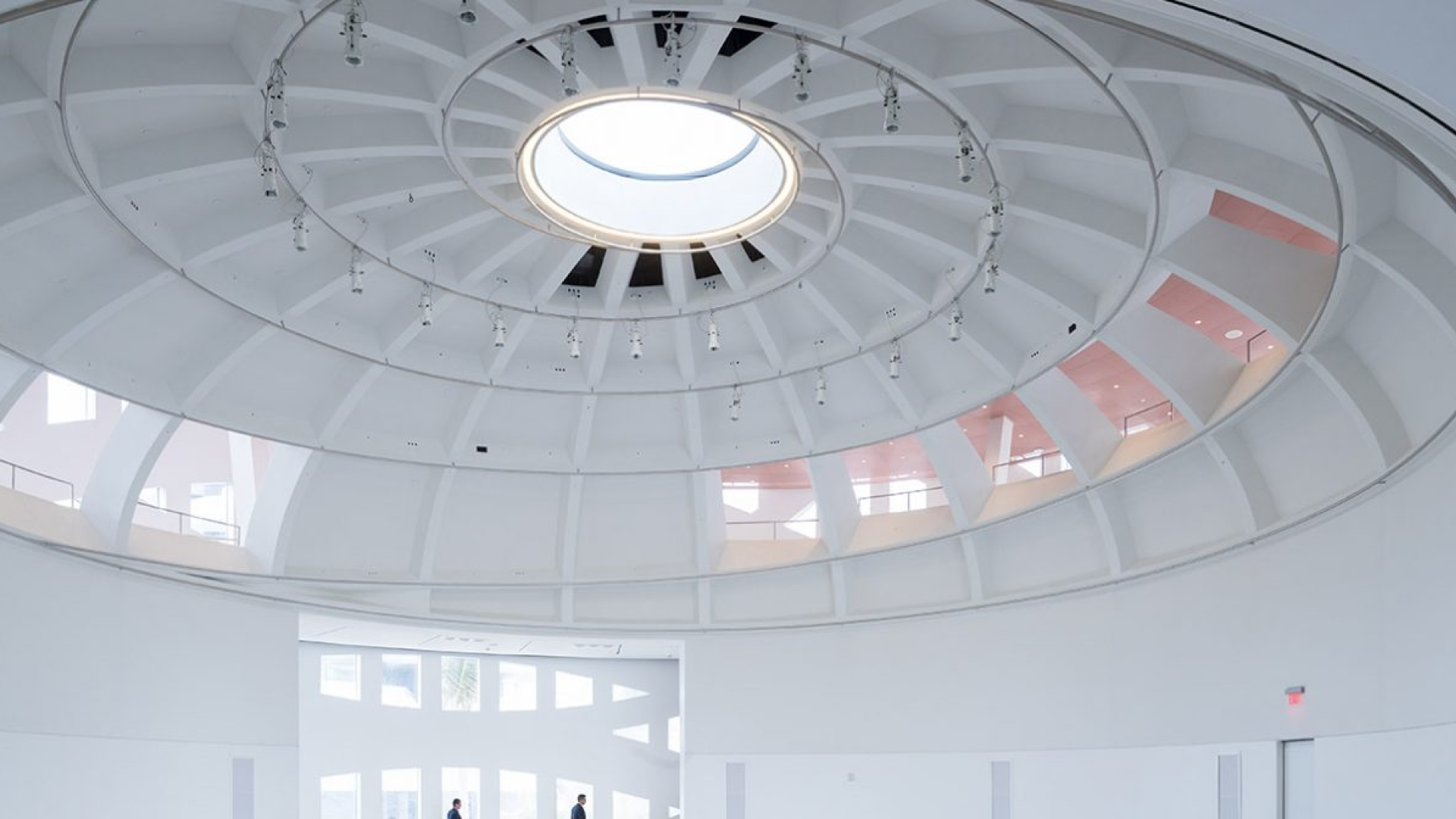 indoor ceiling shot of white sphere-shaped building